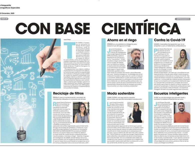 Reciclaje de membranas en el suplemento Startup de La Vanguardia